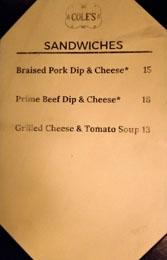 Cole's Menu: Sandwiches