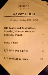 Cole's Happy Hour Menu