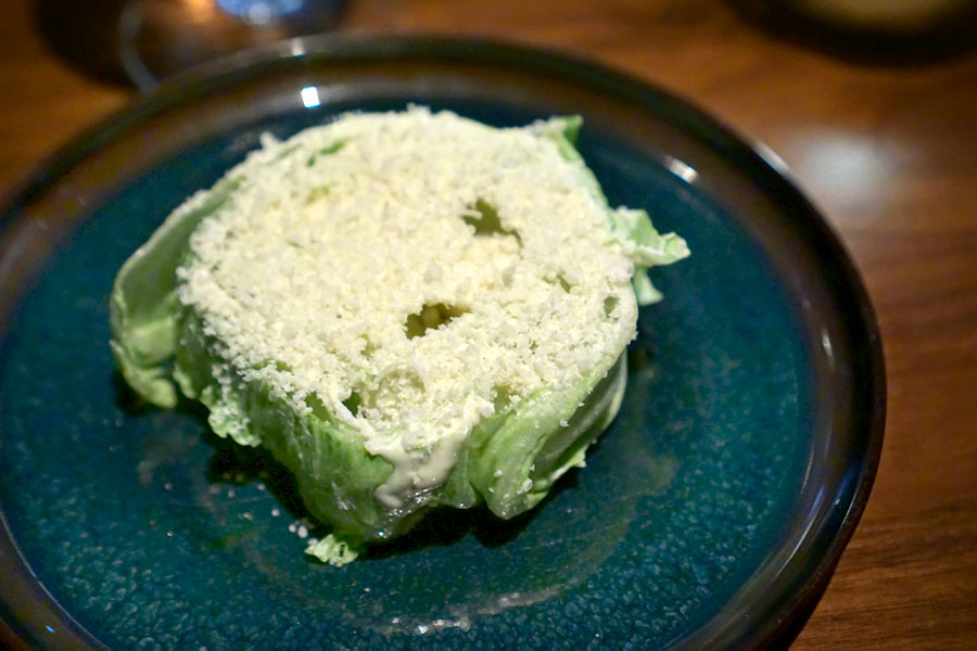 Baby Iceberg lettuce with 'Japanese' Caesar dressing (contains cheese)