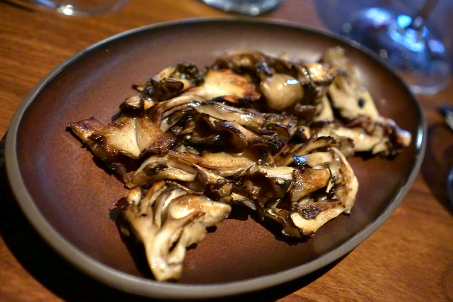 Maitake Mushrooms with butter and thyme cooked over the wood fire