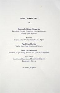 Matū Cocktail List